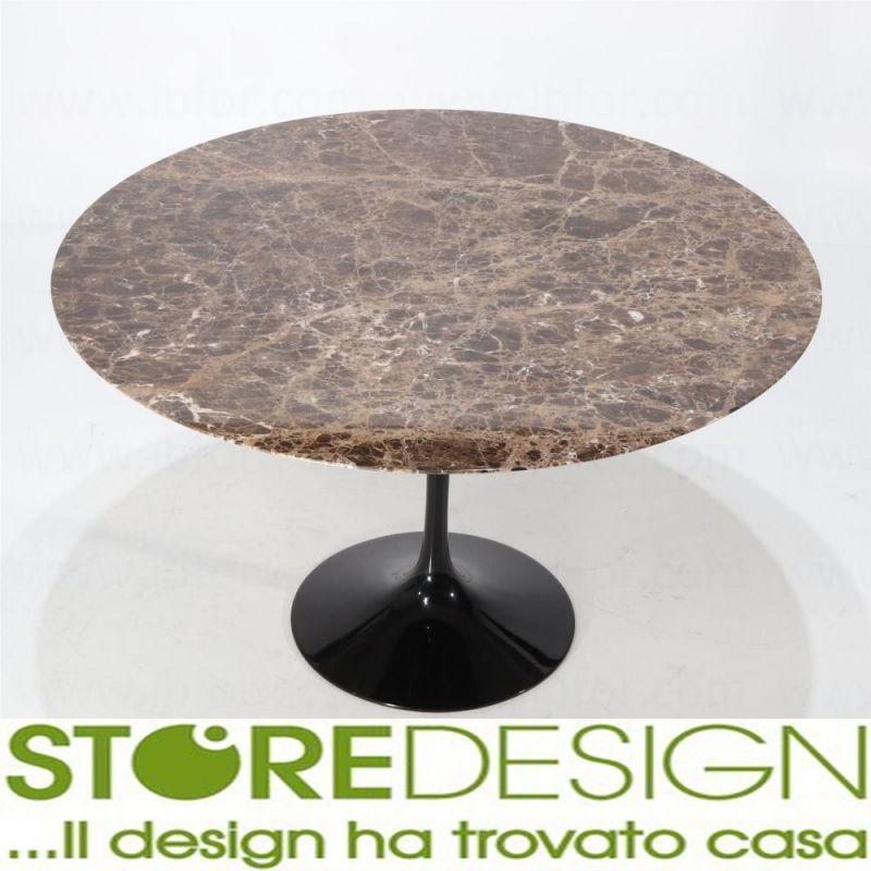Tavolo Tulip rotondo Emperador Dark made in Italy - Tavolo Saarinen in marmo