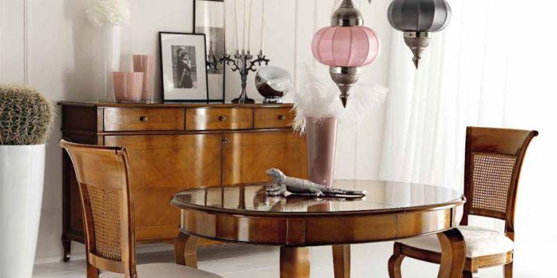 offerta credenza due ante intarsiate ciliegio - occasione tavolo ovale allungabile ciliegio