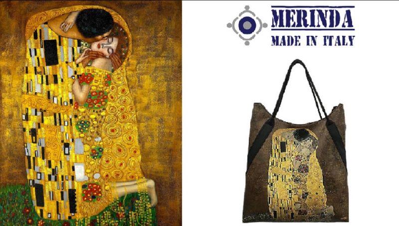 MERINDA occasione vendita ONLINE borsa stampa d'autore made in italy Klimt Il bacio