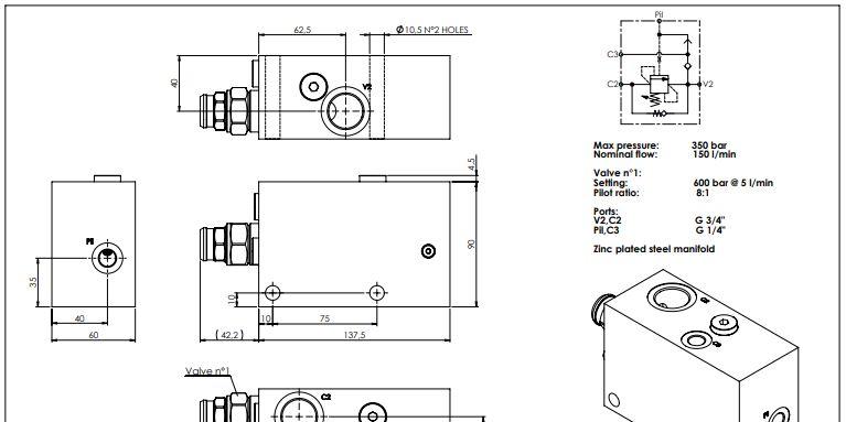 offerta  MB000932 Atlantic Fluid Tech per argani - promozione valvole bilanciamento Atlantic
