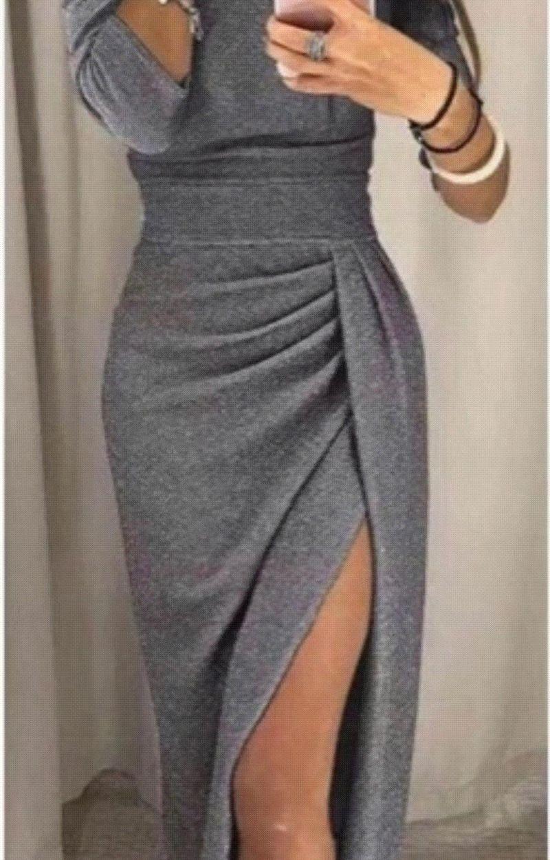 Offerta Abito donna in maglina elasticizzata con lurex scollo a barchetta e spacco TG unica
