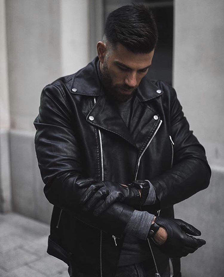Giacca uomo in eco-pelle modello a chiodo imbottita con lana interna TG M/L/XL/XXL