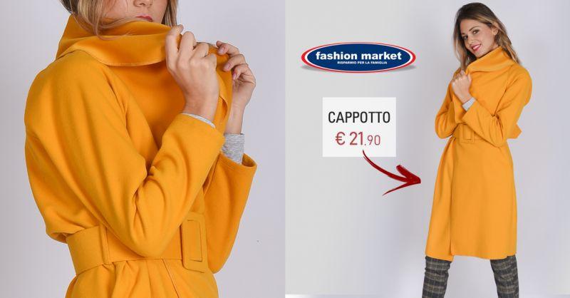 Fashion Market offerta cappotto color ocra da donna - occasione cappotti donna nuova collezione